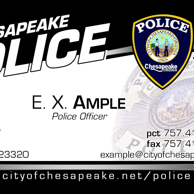 Chesapeake Police business cards